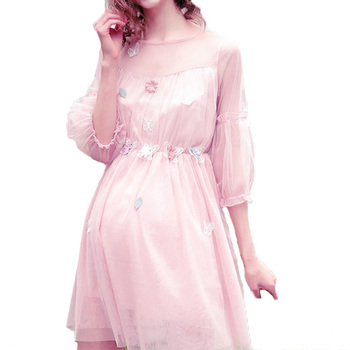 Latest sheer design woman pink Maternity mini party dress