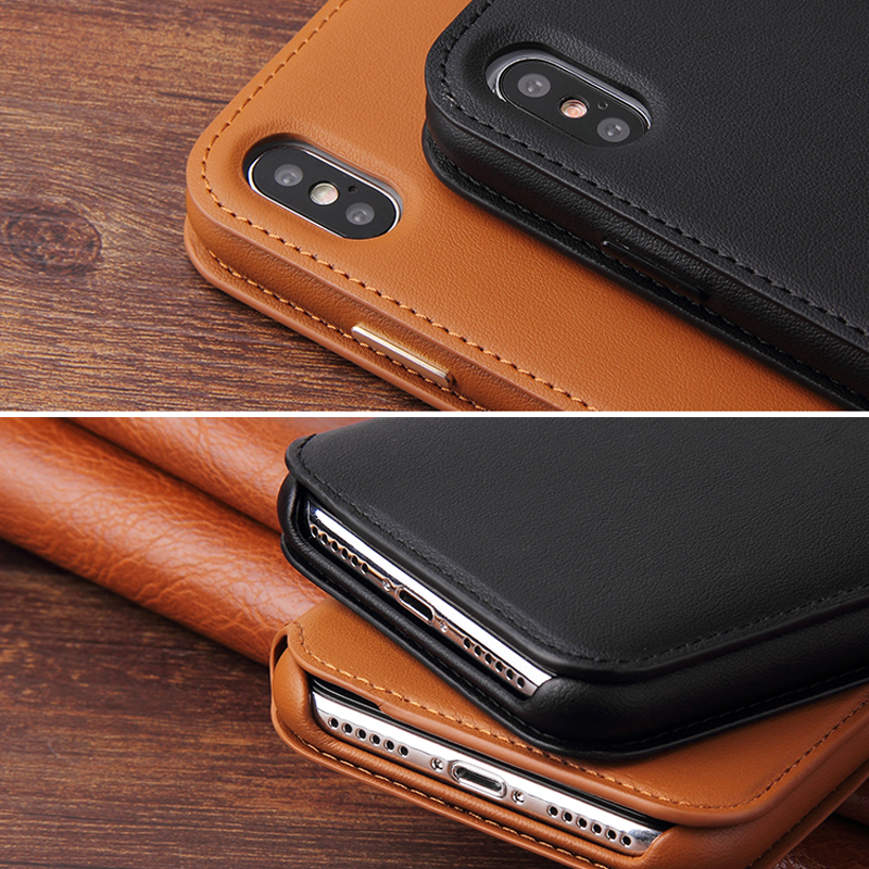 Offical Design Luxury Leather Covers For iPhone 11 Case Custom Hot Pressing Logo For iPhone X Flip Leather Case