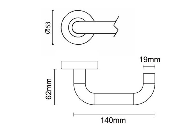 de grootte van de deurhandvat van het satijnroestvrije staal met 53*6.5mm nam toe