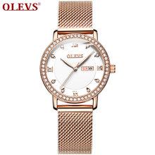 Женские наручные часы OLEVS, золотые часы с кристаллами и бриллиантами, Серебристые часы из нержавеющей стали, новинка 2020(Китай)