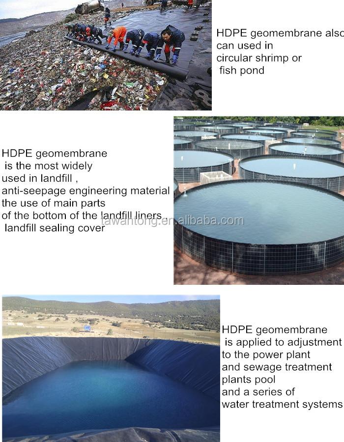 Revêtement d'étang en HDPE, matériaux agricoles, membrane pour bassin, 0.75mm d'épaisseur