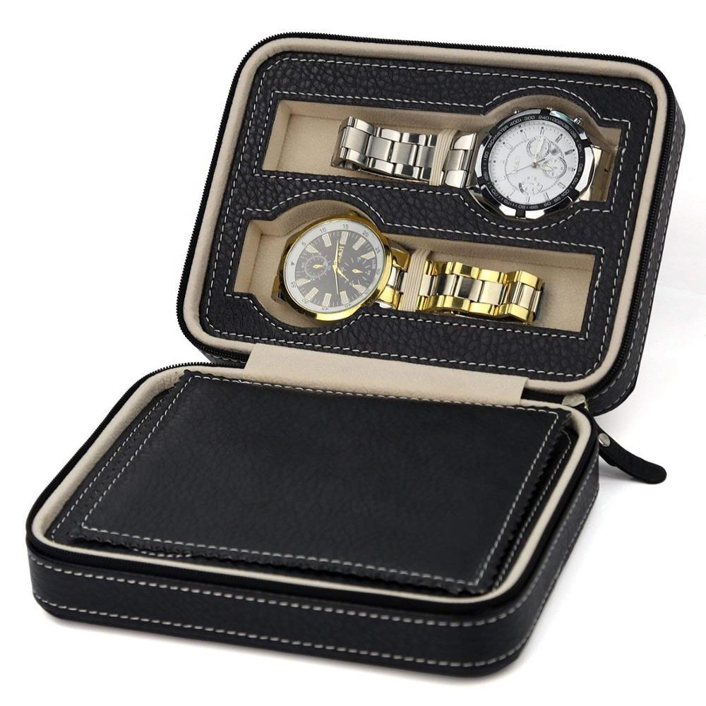 4 Slot Mewah Jam Tangan untuk Pria dengan Kotak Jam Tangan Kulit Kustom Kotak Jam Tangan Kulit