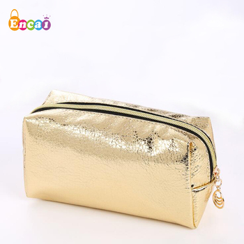 Encai Bling Golden Cosmetic Bag 4Colors Basic Wholesale Stocked Makeup Bag