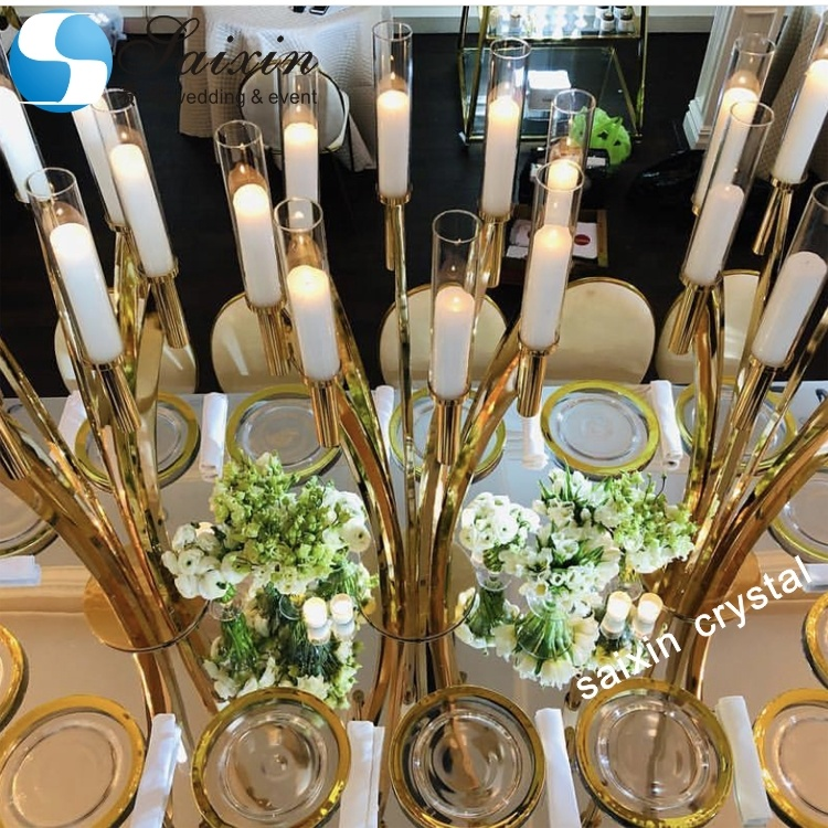 ZT-396 New design metal gold table candelabra for party <strong>wedding</strong>
