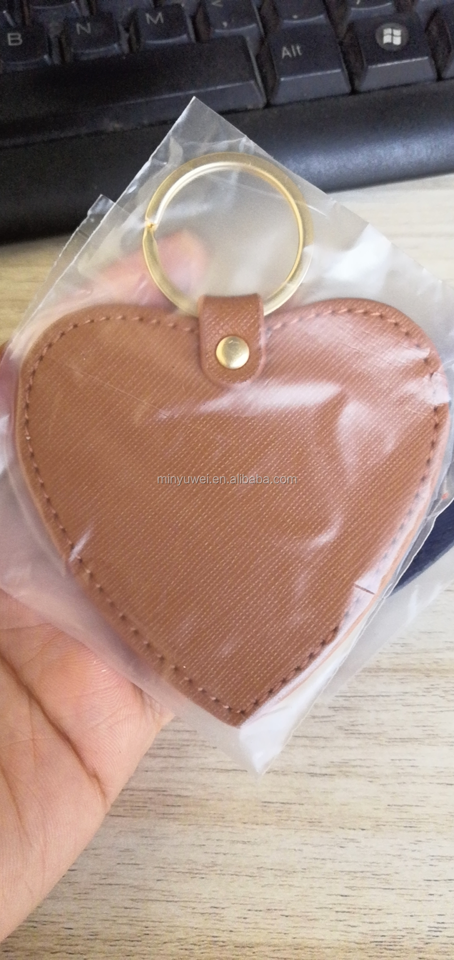 Personalised saffiano leather heart keyring car keyring