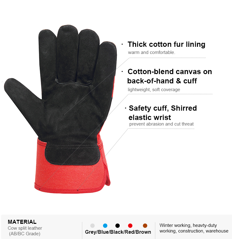Cow split leather cut resistant safety gloves for winter warehouse construction work