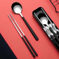 Food Grade Stainless Steel Korean Spoon And Chopsticks Set Portable Flatware Travel Camping Cutlery