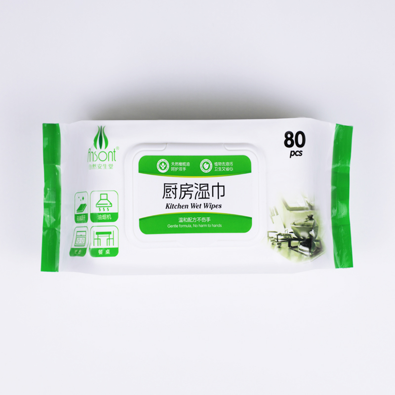 Biodegradable Cotton Touch Lemon Flavor Kitchen Sanitary Wet Wipes For Household