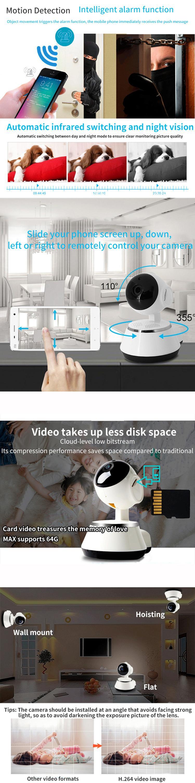 V380 pro H.264 ptz wifi wireless ip camera 360 degree pan-tilt Indoor smart video cctv security camera