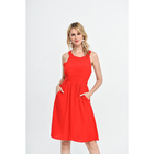 Hot sale hangzhou women clothing passionate halter sleeveless solid color rose red dress
