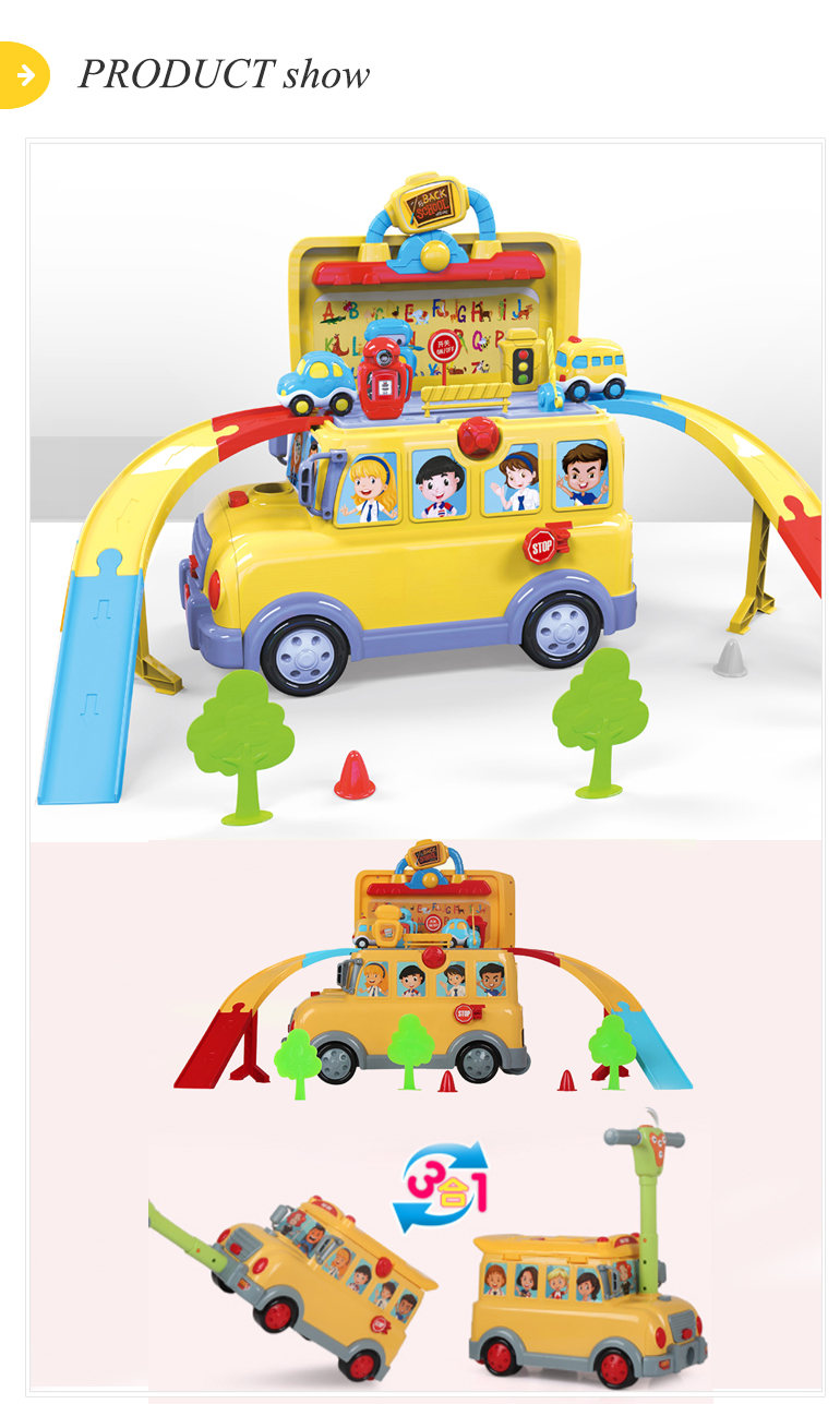 Best selling kids ride on pull set electric bus toy slot car track
