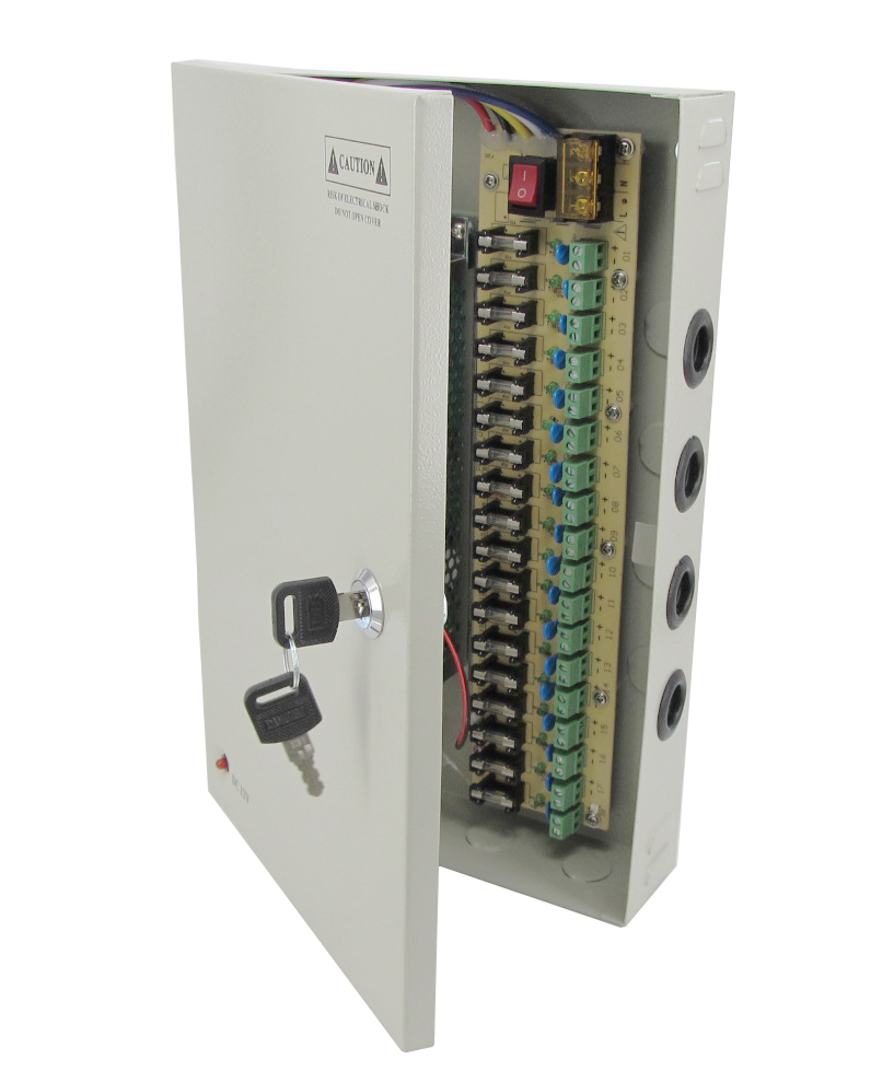 18 Channel Port Output 12V DC CCTV PTC Fuse Distributed Power Supply Box for Security <strong>Cameras</strong>