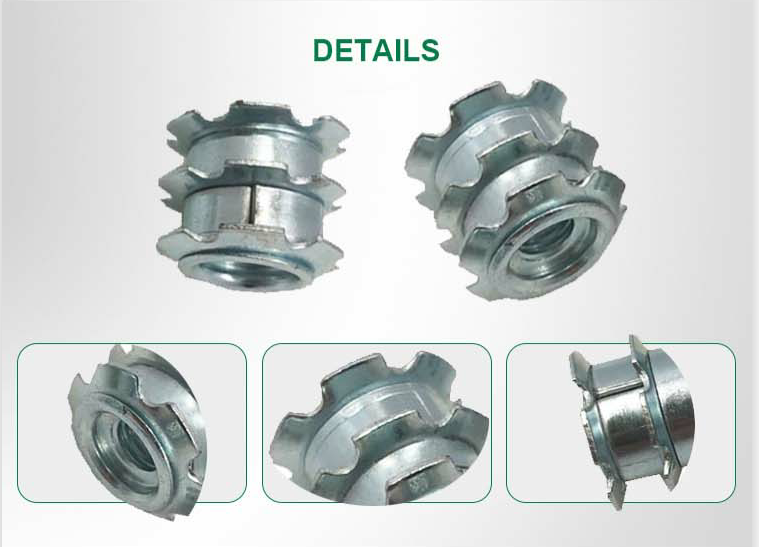 3 Layer Star Shape Metal Spring Threaded Tubing Adapter Tube Insert Nut For Metal Tube