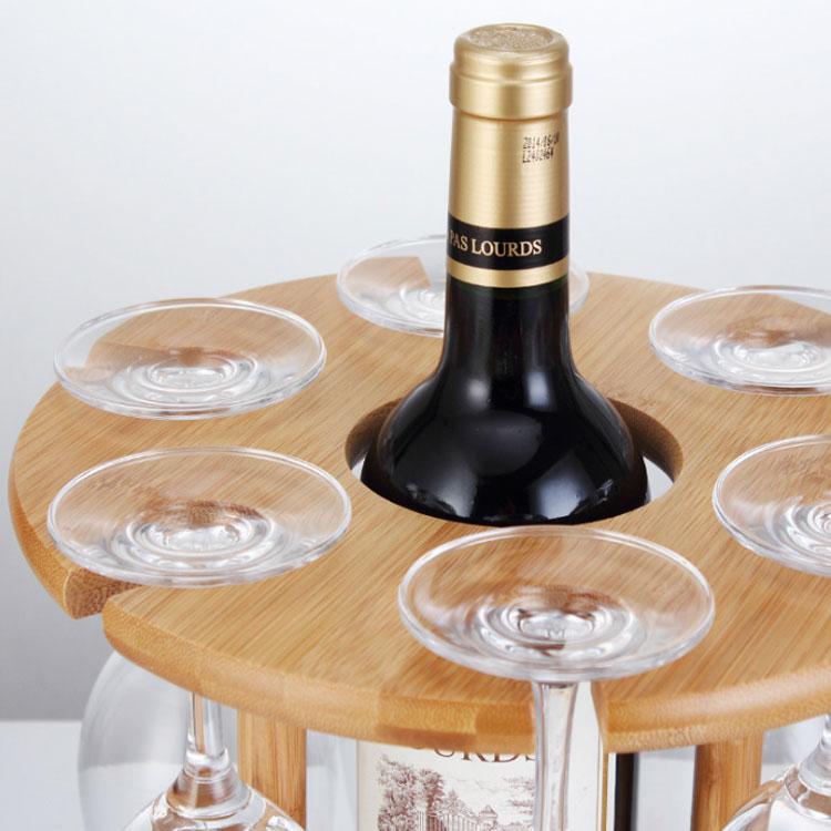 Wine Bottle Holder Bamboo Glass Hanging Drying Stand Bamboo Wine Holder 5