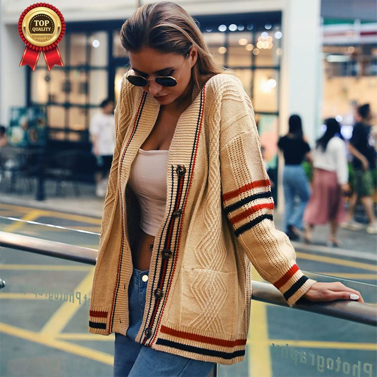Contrast Color Striped Cardigan Jacket Tide, Autumn And Winter City Leisure V Collar Loose Sweater Women'S Sweater