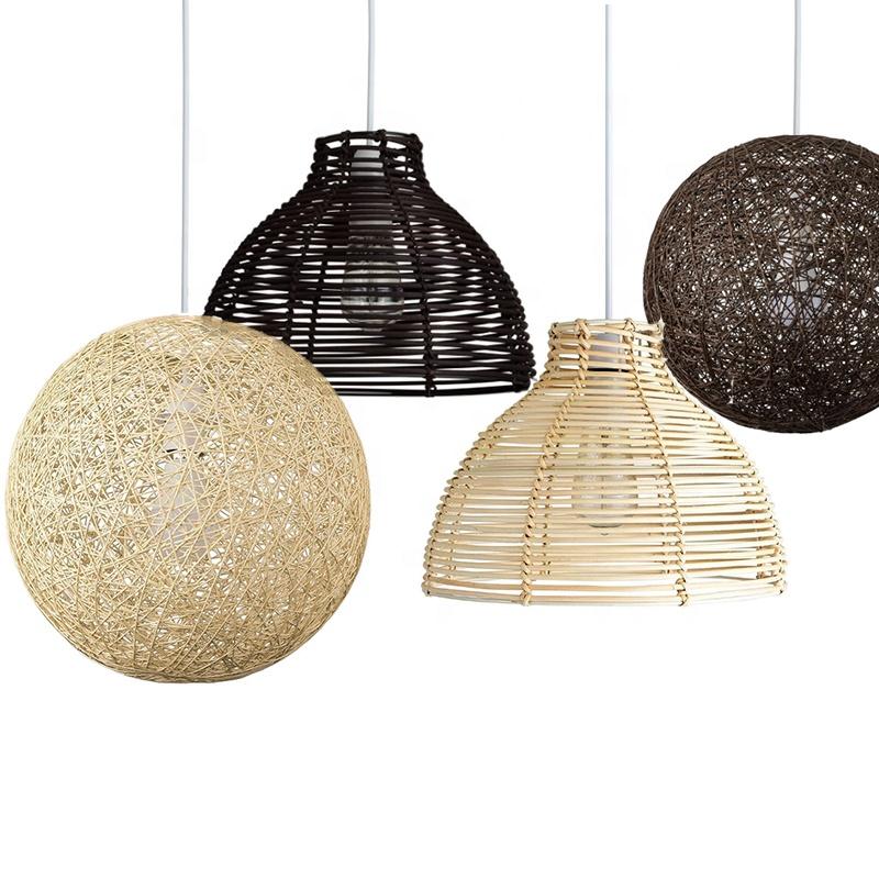 Fancy Lampade Rattan Ombra Lampadario di Illuminazione Naturale di Vimini Decorativi Luce Del Pendente