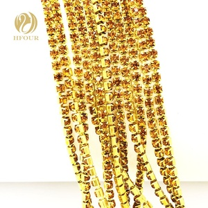 Golden Yellow Diamond Rhinestone Cup Chain with Gold Base