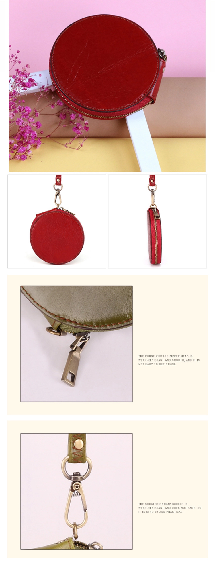 Osgoodway2 Wholesale 2020 Womens Wallet Zipper Coin Purse Round Shape Genuine Leather Cute Mini Coin Purse