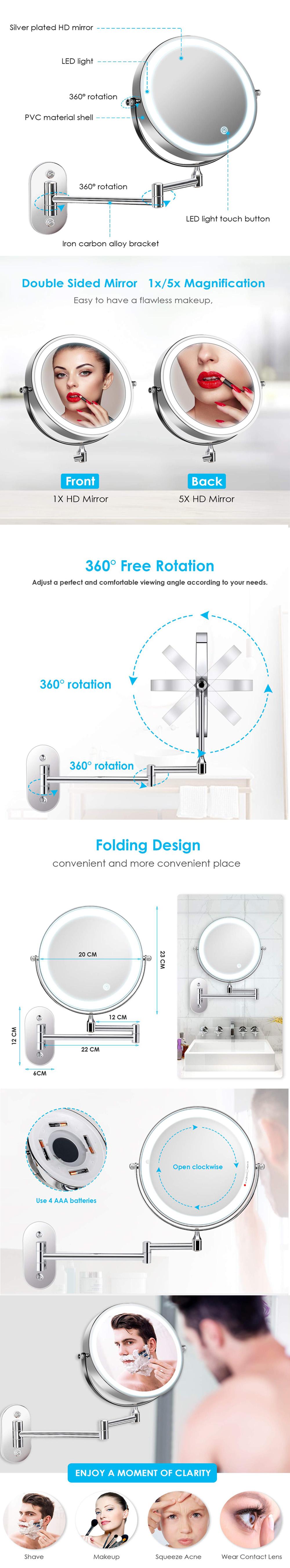 8 인치 터치 센서 양면 벽 마운트 돋보기 10X 호텔 욕실 Led 허영 거울