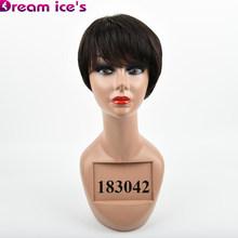 Короткие прямые волосы парик 70% перуанские Remy человеческие волосы полные парики для женщин коричневый красный цвет волосы с челкой парик(Китай)