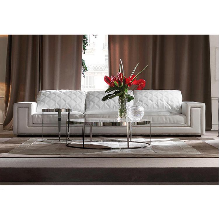Mobili soggiorno moderno divano in pelle bianca set di mobili può essere personalizzato