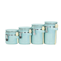 Ceramic Canister Set with Clamp Top Lid and Wooden Spoon for Home Decor