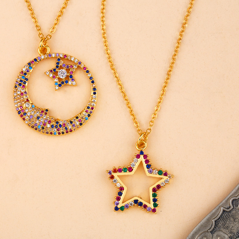 2020 Rainbow Accessories Gift Cz Hollow Star Necklace Colorful Copper Link Chain Star Moon Necklace for Women