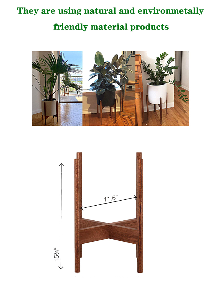 Solid Walnut Wood Plant Stand Indoor or Outdoor Planter Pot Display Rack Stable Wood Flowerpot Shelf Home Decoration