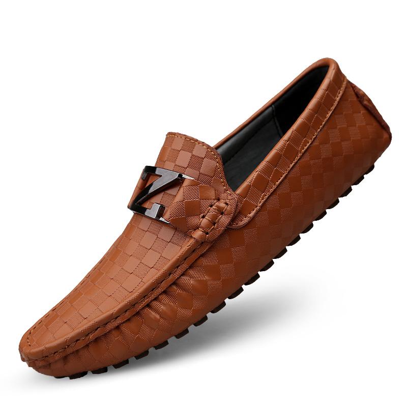 उच्च गुणवत्ता ड्राइविंग जूता आवारा फ्लैटों चमड़े पुरुषों के जूते आकस्मिक आदमी moccasin पुरुषों के जूते पर पर्ची