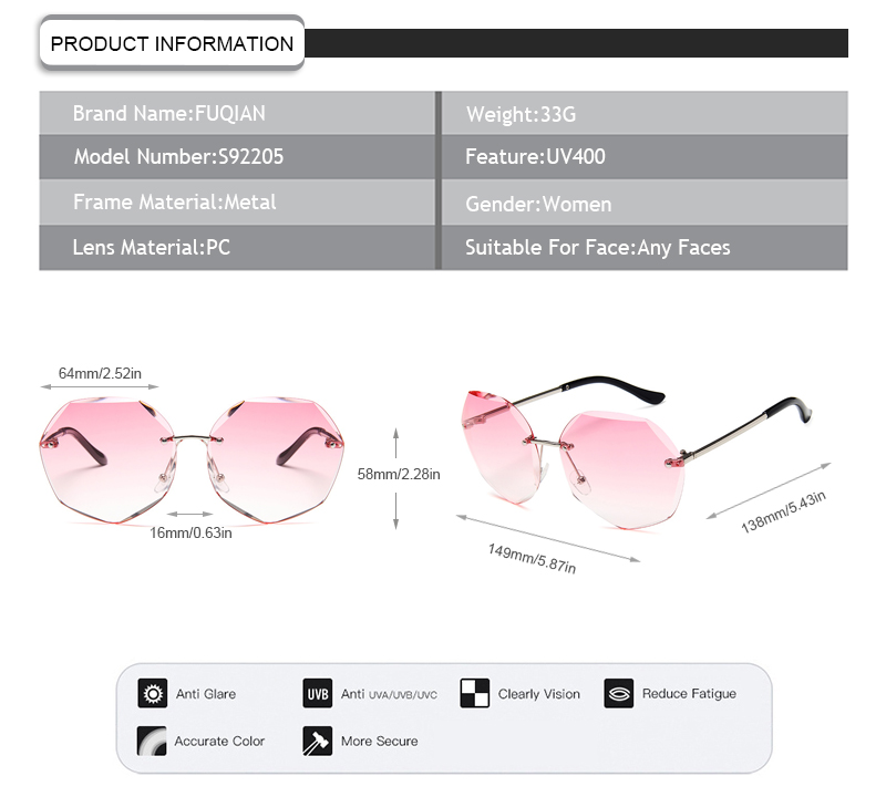 2020 New Arrivals  Retro Photochromic Polygon Women Rimless Sunglasses