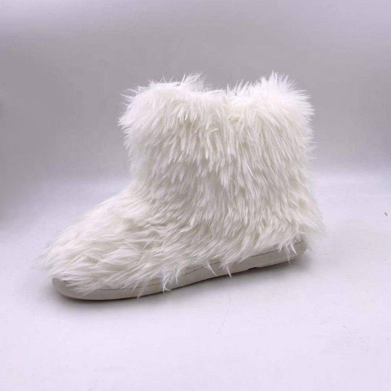 2019 Fashion Ankle Height Flat Casual Winter Warm Fuzzy Furry Women Faux Fur Boots