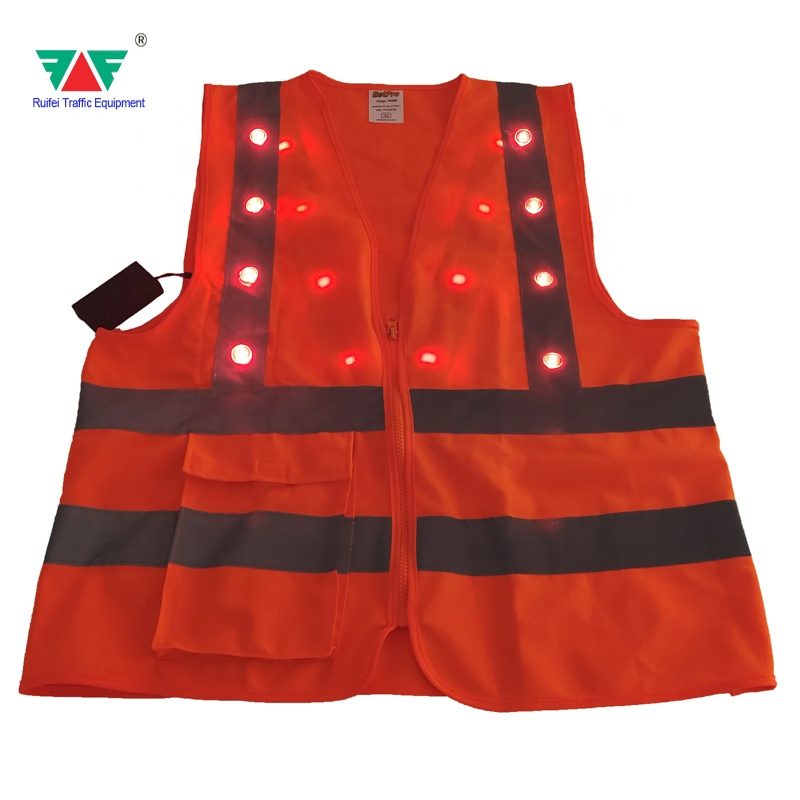 2020 New Design Customised Product <strong>Orange</strong> Safety <strong>Vest</strong> With LED Light