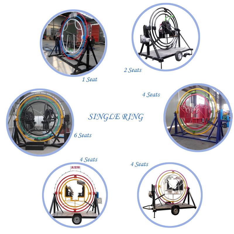Son ucuz orbitron binmek 6 kişi elektrikli insan jiroskopu römork ile
