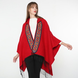 E494 Women Lady Winter Warm Tassel Solid Color Travel Embroidered Hooded Cloak Shawls Cape Pashmina Scarves Poncho Shawl Scarf