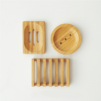 LOGO Custom Print Japan Natural Bamboo Wood Soap Dish Storage Holder Bath Shower Plate Eco Soap Boxes