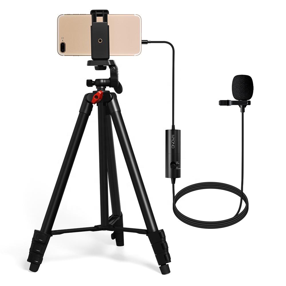 Microfone de lapela Microfone de Lapela Microfone Do Telefone com Tripé Pedestal de microfone para Gravação De Vídeo Kit