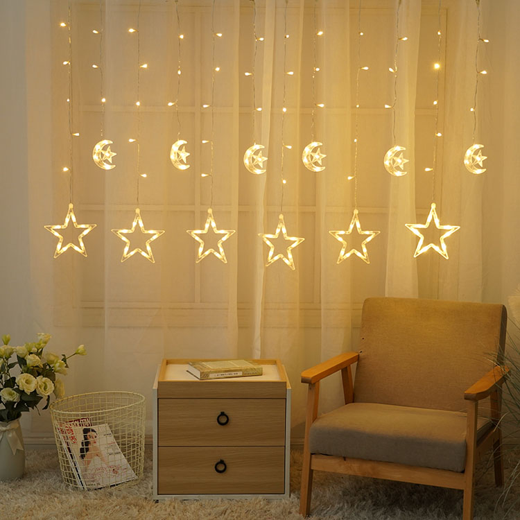 Customized Led Light moon star window curtain string light for Christmas Decoration