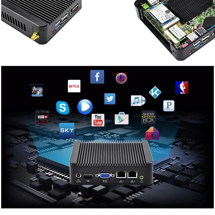 Cheap Fanless BayTrail J1800 Dual Core 2 Nic VGA HD Low Power Processor Mini PC x86 Desktop Computer