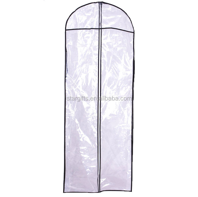 Custom Made Long Size Durable Reusable Custom Suit Clear PVC Plastic Garment Dress Cover Bag With Zipper
