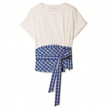 Latest Paneled Gingham Crepe And Cotton-Jersey T Shirt Fashion Women Clothing Plus Size Tunic Tops