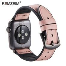 REMZEIM 38 40 42 44 мм силиконовый ремешок из натуральной кожи для Apple Watch Series 5 4 3 2 1 высококачественный кожаный женский и мужской ремешок для часов(Китай)