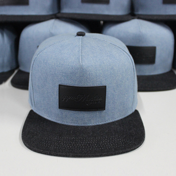 Small Order Custom flat brim plain customized denim snapback hat with leather patch wholesale