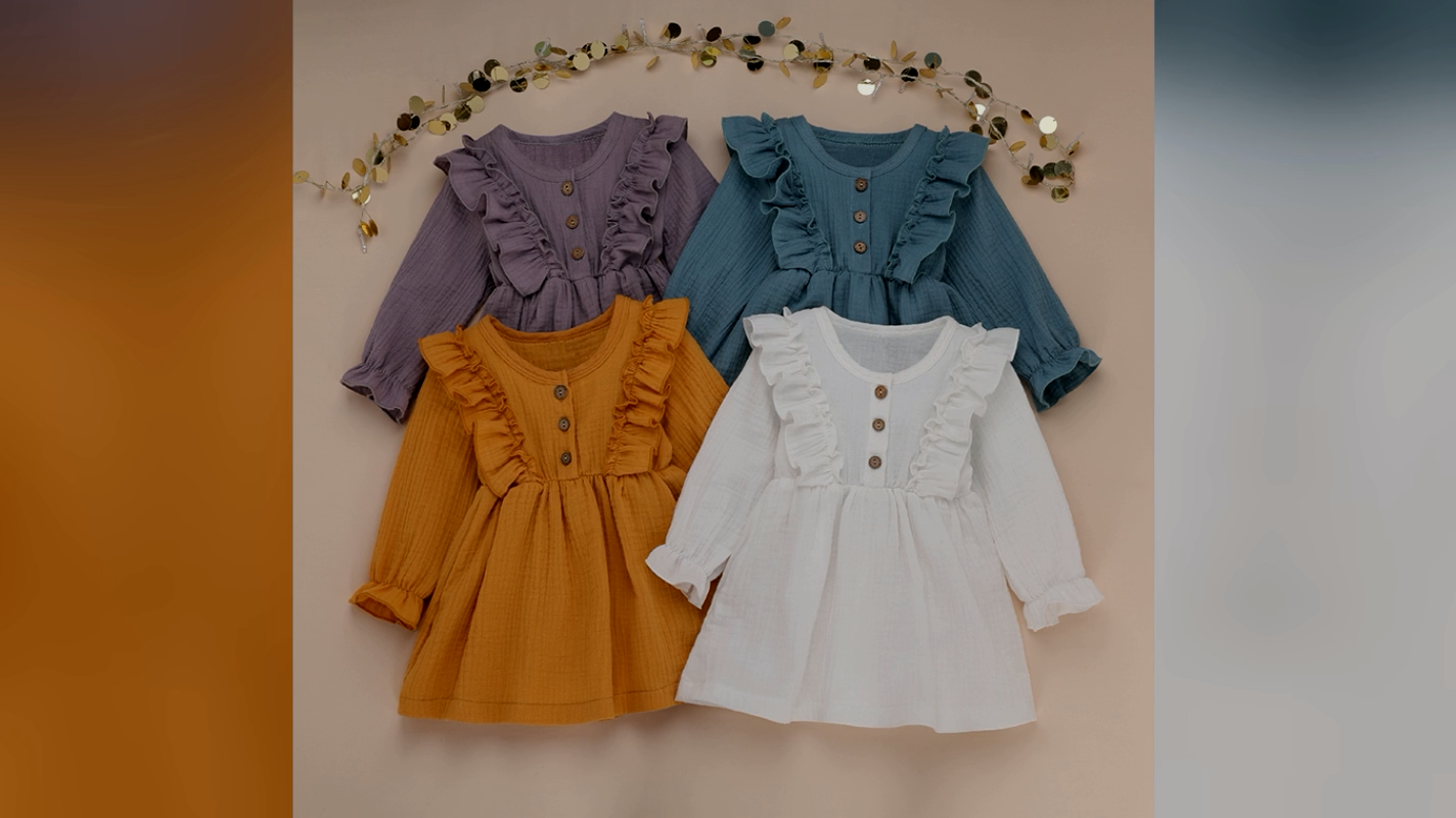 High quality Fashion  Unique Linen Cotton Button Ruffle Baby Girls Dresses Toddler Clothing Girl Newborn Baby Clothes