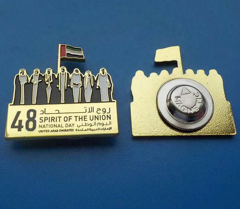 UAE 48th National Day 7 Sheikh and flag gold plated magnet badge