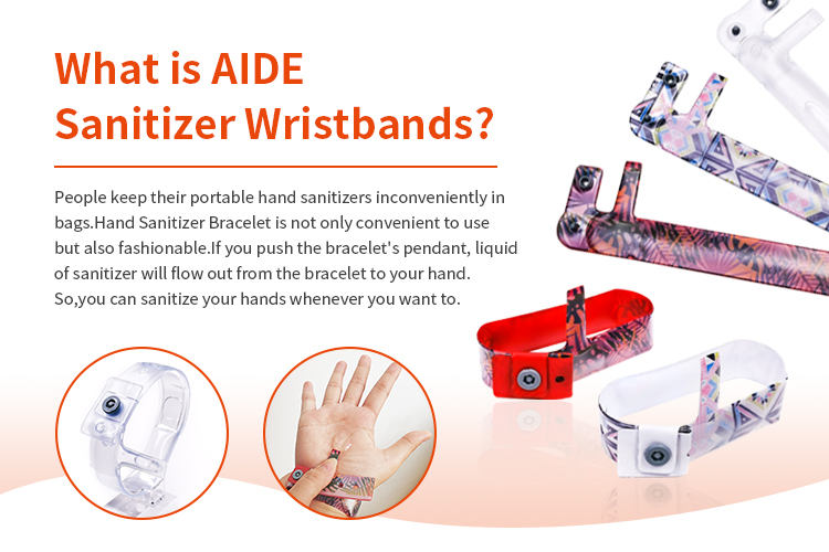 Aide Wholesale Squeeze Liquid Hand Wash Sanitizer Wristband Bracelet Dispenser