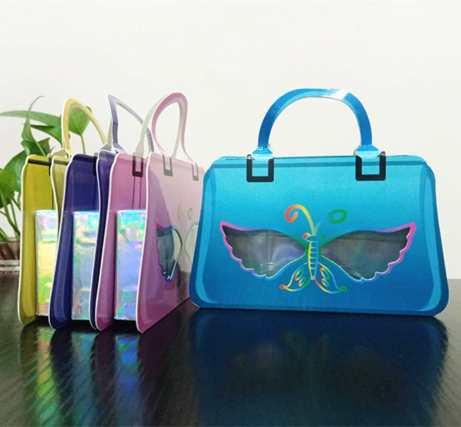 2020 new low moq empty cute colorful handbag lash case luxury pink yellow blue purple false eyelash cosmetic packaging box