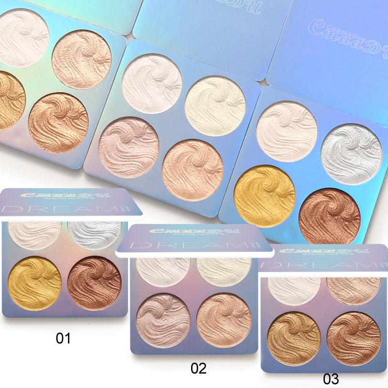 CmaaDu 4 color baked powder highlighter powder contour palette bronzer shading highlighting glow palette makeup highlight