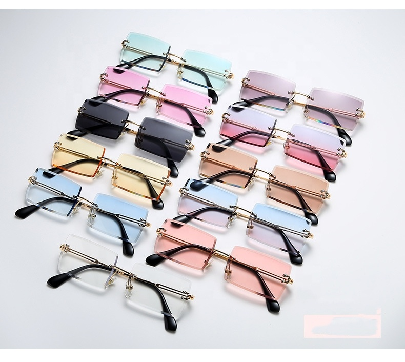 New Trendy Custom Fashion Vintage Ladies Rimless Square Small Rectangle Frameless Sun Glasses Women Men Shades Sunglasses