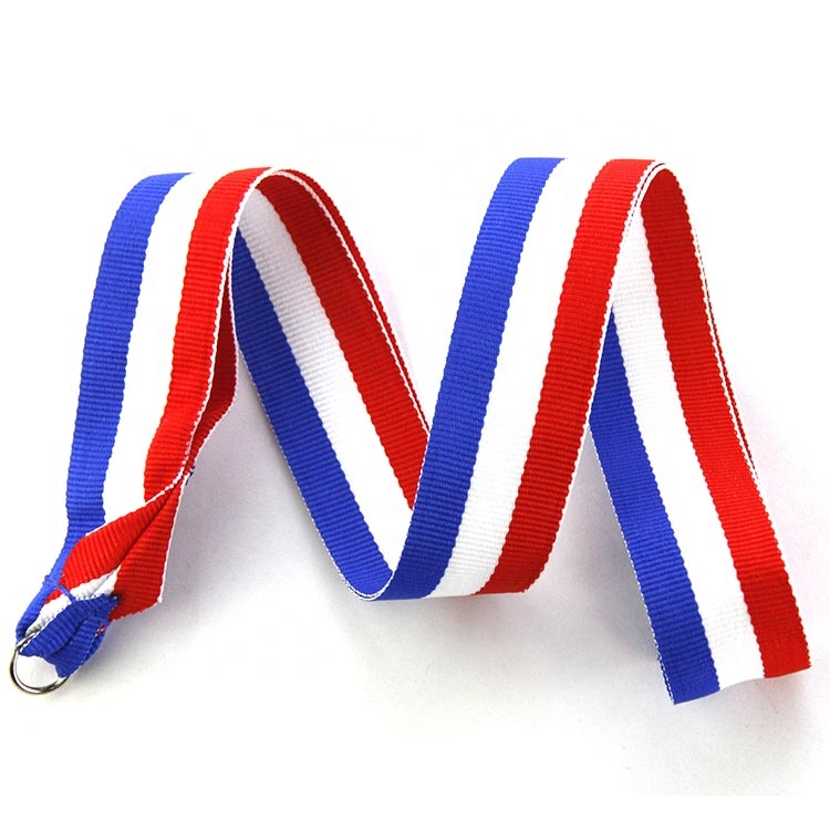 Promotional custom bulk cool design accessories hook lanyard flat polyester for medal