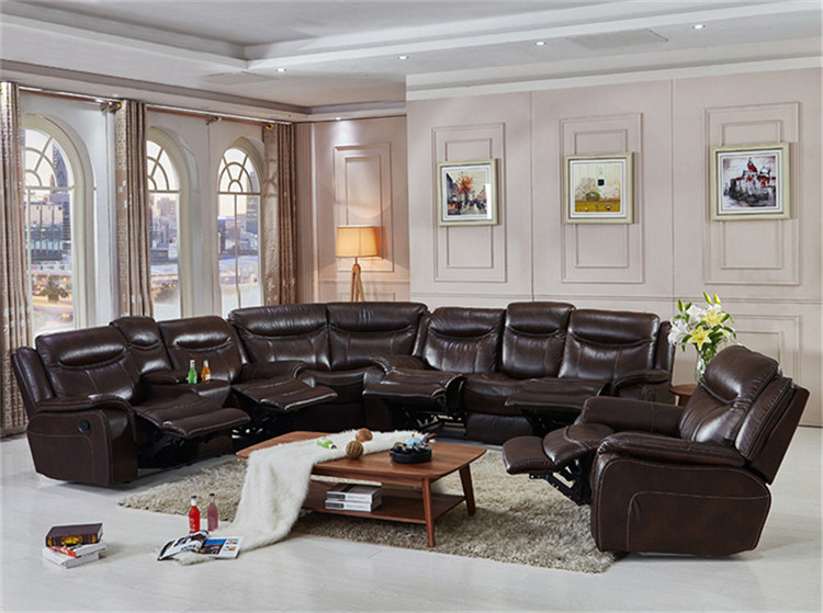 Latest I Shape Corner Wooden chaise lounge sofa With Reliners Set Designs, Large Elegant Leather Corner Sofa